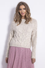 F838 Mohair-Blend Cable-Knitted Sweater In Beige-Melange