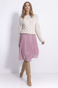 F838 Mohair-Blend Cable-Knitted Jumper In Beige-Melange