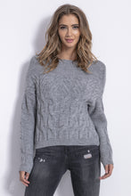 F838 Mohair-Blend Cable-Knitted Sweater In Grey
