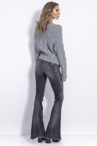 F838 Mohair-Blend Cable-Knitted Jumper In Grey
