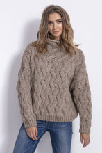 F839 High Neck Chunky Knit Sweater In Brown