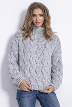 F839 High Neck Chunky Knit Sweater In Grey