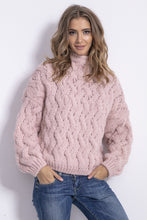 F839 High Neck Chunky Knit Sweater In Pink