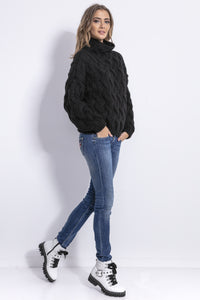 F839 High Neck Chunky Knit Sweater In Black