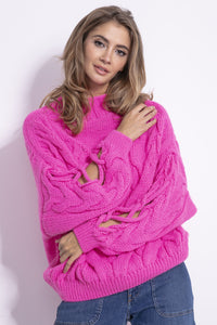 F850 Slit-Sleeve Cable-Knitted Sweater In Pink