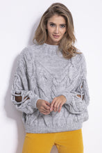 F850 Slit-Sleeve Cable-Knitted Alpaca-Blend Jumper In Grey