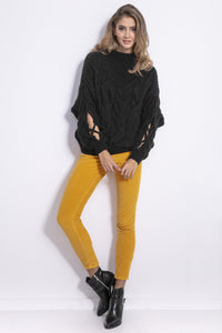 F850 Slit-Sleeve Cable-Knitted Alpaca-Blend Jumper In Black