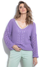 F995 Sweater With Eyelet Stitching In Purple