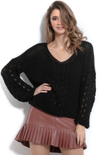 F995 Sweater With Eyelet Stitching In Black