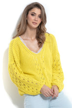 F995 Sweater With Eyelet Stitching In Yellow