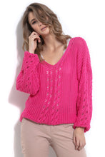 F995 Sweater With Eyelet Stitching In Pink