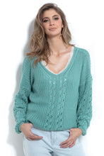 F995 Sweater With Eyelet Stitching In Green