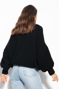 F1110 High Neck Cashmere & Merino Wool Sweater In Black