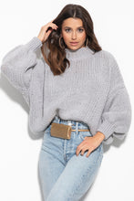F1110 High Neck Cashmere & Merino Wool Sweater In Grey