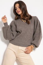 F1061 Oversized Puff Long Sleeve Sweater In Brown