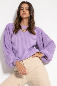 F1061 Oversized Puff Long Sleeve Jumper In Purple