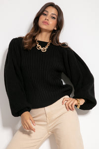 F1061 Oversized Puff Long Sleeve Sweater In Black