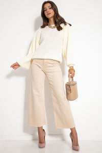 F1061 Oversized Puff Long Sleeve Sweater In Ecru