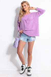 F1056 Oversized Pocket Front Wool Sweater In Purple