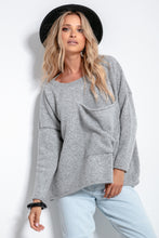 F1056 Oversized Pocket Front Wool Sweater In Grey