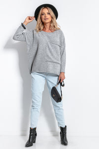 F1056 Oversized Pocket Front Wool Jumper In Grey