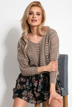 F892 Eyelet Stitching Sweater In Brown