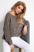 F893 Eyelet Stitching Sweater In Brown