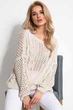 F893 Eyelet Stitching Sweater In Beige