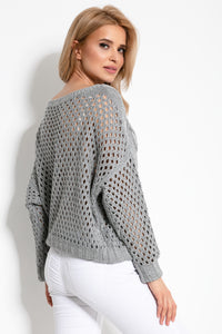 F893 Eyelet Stitching Sweater In Grey