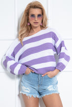 F1044 Oversized Stripes Sweater In Lilac