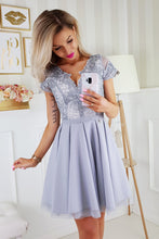 2180-3 Tulle & Embroidered Mesh Mini Dress In Gray