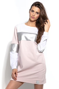 F936 Cotton Long Sweatshirt Tunic In Pink