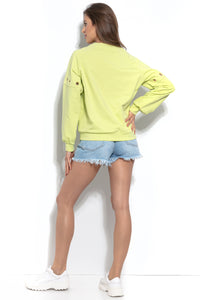 F940 Cotton Sweatshirt With Ring Detail In Lime