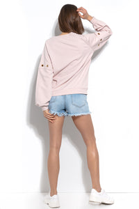 F940 Cotton Sweatshirt With Ring Detail In Pink
