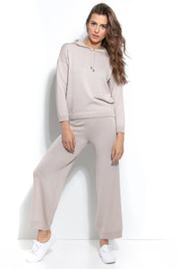 F935 Two Pieces Set Hooded Blouse & Pants In Beige