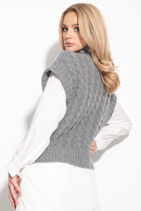 F1113 High Neck Cable-Knit Wool Vest In Grey