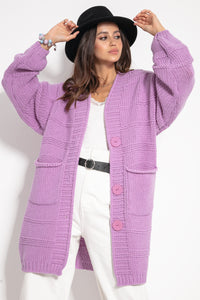 F1085 Lambswool Longline Oversized Cardigan In Purple