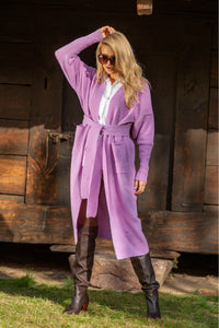 F1116 Front Pocket Belted Wool Cardigan In Purple