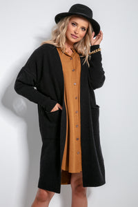 F1059 Pockets Front Longline Wool Cardigan In Black