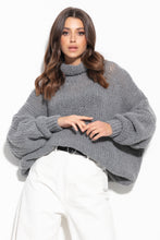 F1128 Wool Turtleneck Sweater In Grey