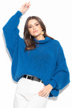 F1128 Wool Turtleneck Sweater In Blue