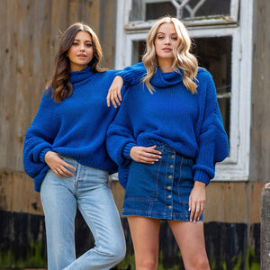 F1128 Merino-Wool High Neck Sweater In Blue