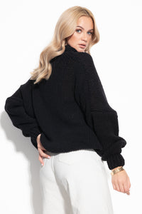 F1128 Merino-Wool High Neck Jumper In Black