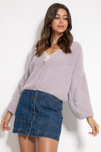 F1062 Wide Short Fluffy Knit Cardigan In Purple
