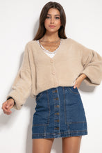 F1062 Wide Short Cardigan In Beige