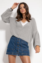 F1062 Wide Short Cardigan In Grey