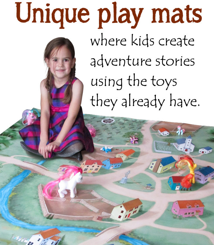 Unique artisan children's play mats let kids use their favorite toys and figurines.