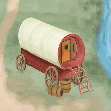 Gypsy wagon on Caravan Village children play mat makes creative story telling fun.