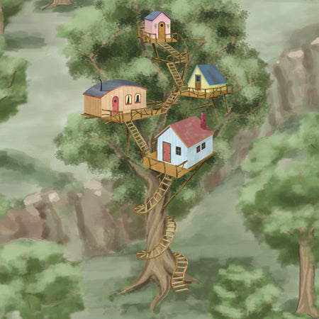 Each ImaginOak play mats for children features a special tree house fort for creative adventure.