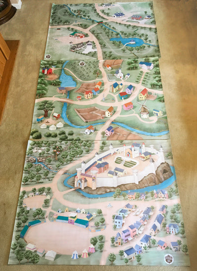 Three ImaginOak children play mats laid end to end to make a huge play space.